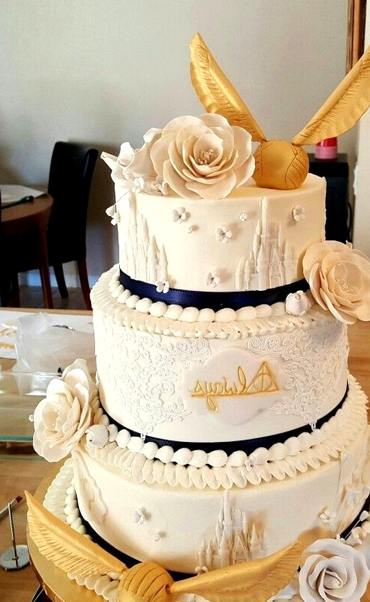 Harry potter themed gold wedding cake