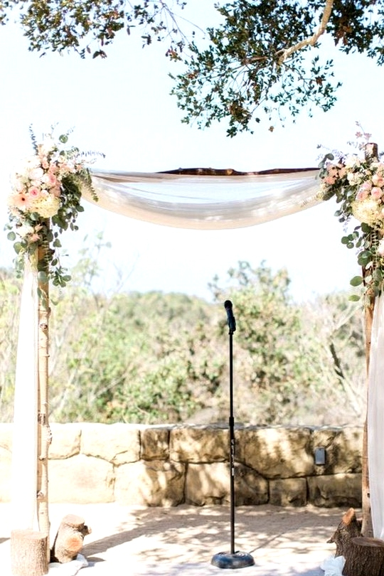 Chic Rustic Floral Accented Wedding Arch Decoration Ideas
