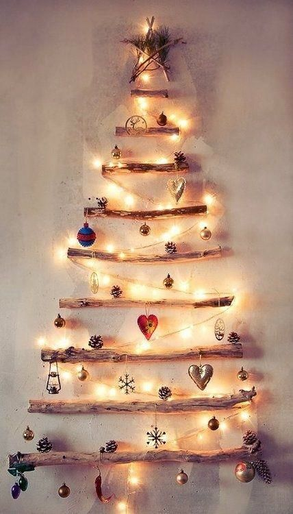 Creative small Christmas Tree on the wall.