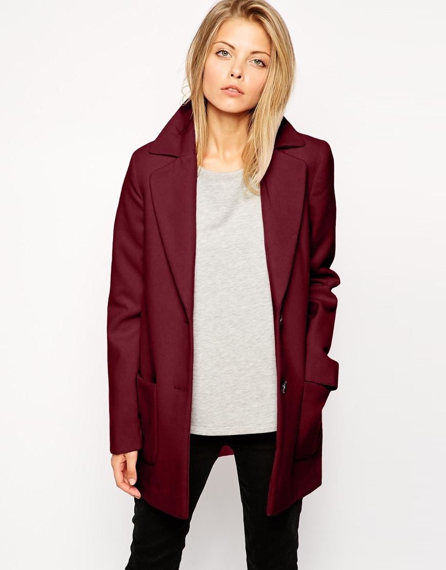 Marsala-Wine-Colored-Slim-Coat-Asos