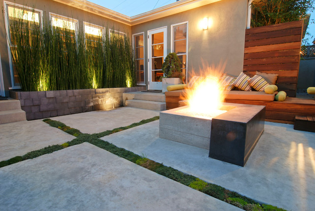contemporary-patio-fire-place