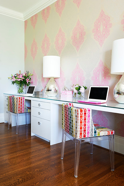 transitional-pink-home-office