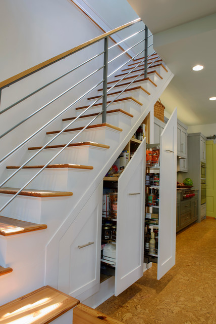transitional-staircase-shelves-for-kitchen