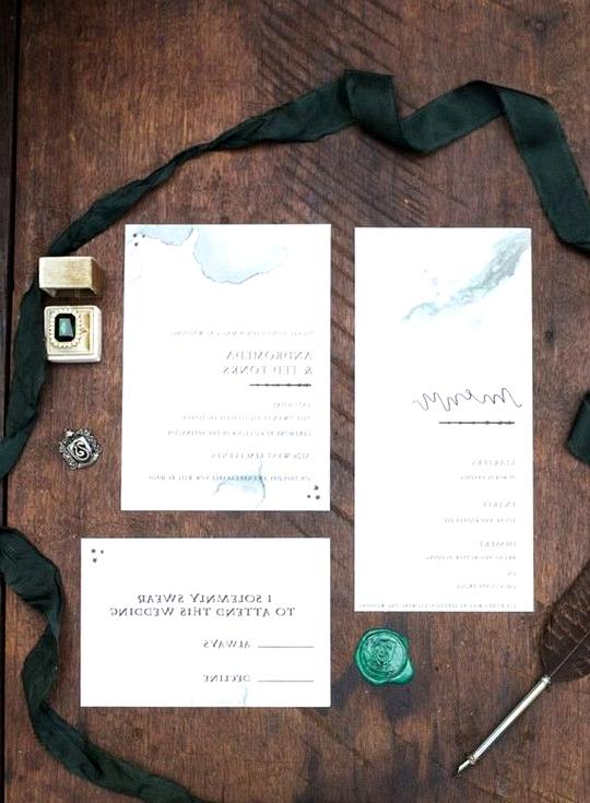 Harry potter themed wedding invitation set