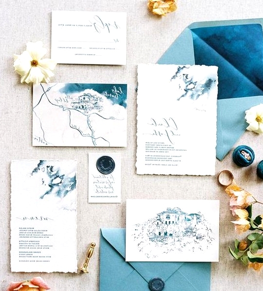 Blue harry potter themed wedding inviations