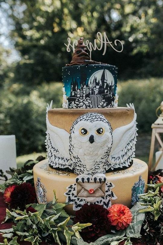 Gorgeous harry potter themed wedding cake