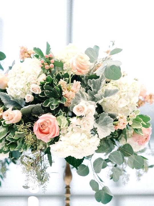 Pink roses and white hydrangeas wedding centerpiece ideas
