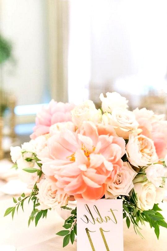 Shades of pink summer wedding centerpiece