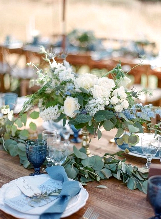 Soft blue green and white wedding centerpiece ideas