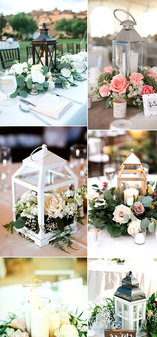 Summer wedding centerpieces with lanterns and candles