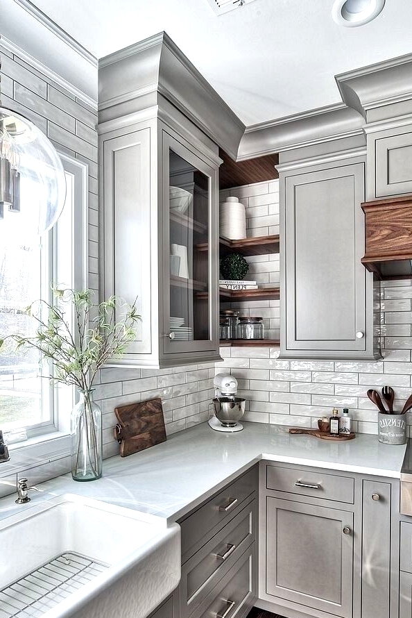 Add A Corner Cabinet For Concise Kitchen Remodeling Ideas