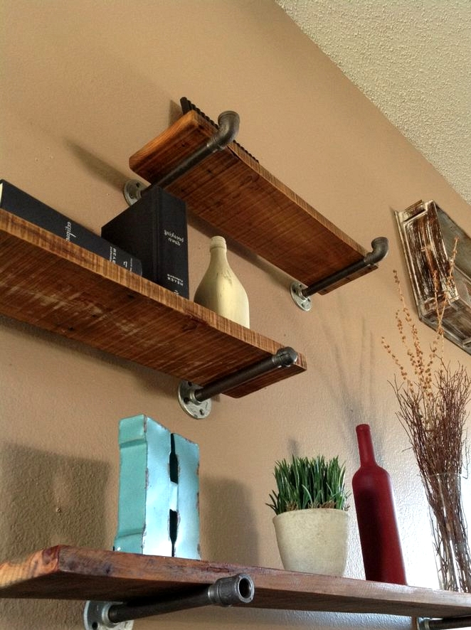 Floating Shelves With A Functional Pole Bar