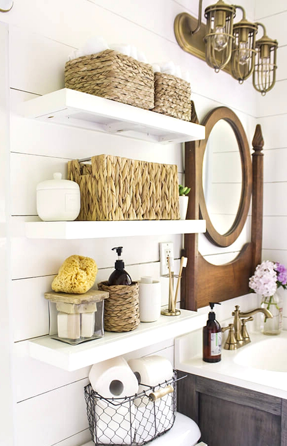 Design Of Floating Shelves With Mirror Ornaments