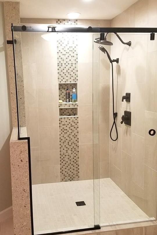 Bathroom Floating Shelves With Slide Doors For Corner