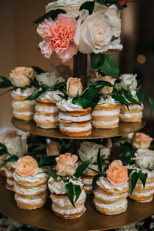 naked wedding cupcakes for peach and gold weddings