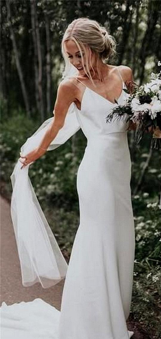 simple elegant sheath wedding dress