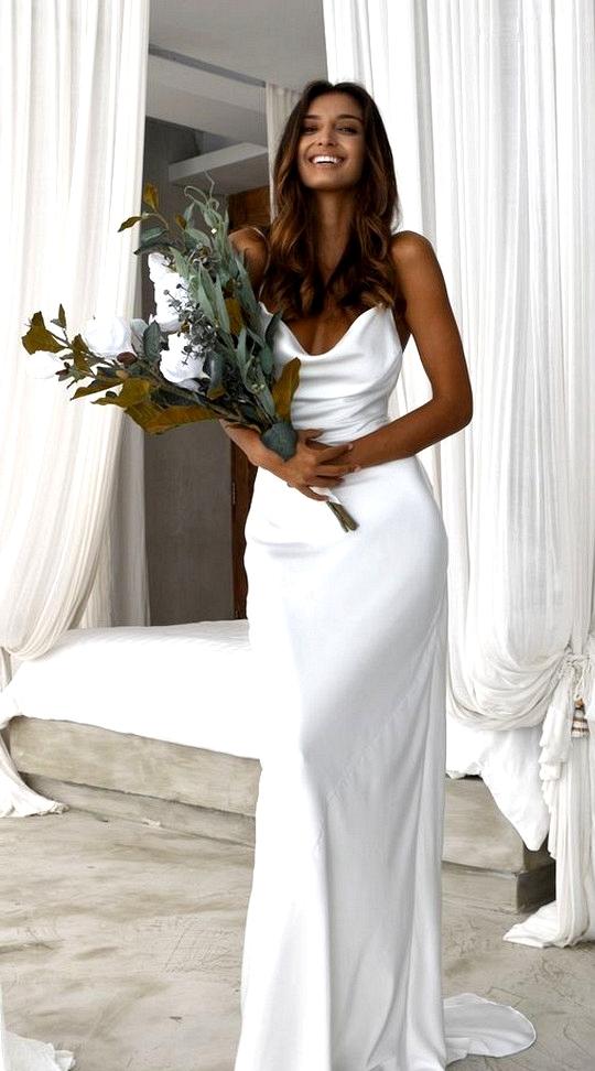 simple spaghetti straps wedding dress