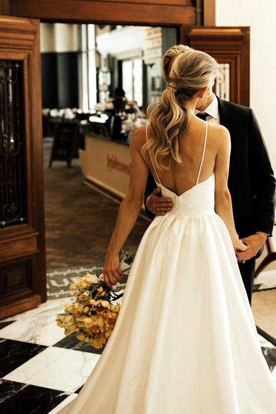 simple wedding dress with Spaghetti Straps