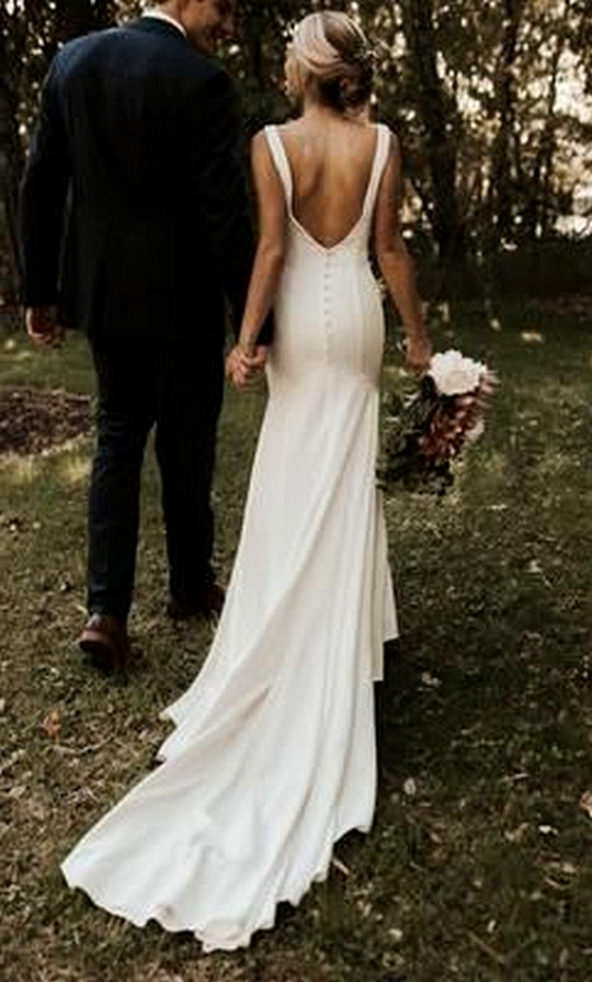 simple wedding dress with open back