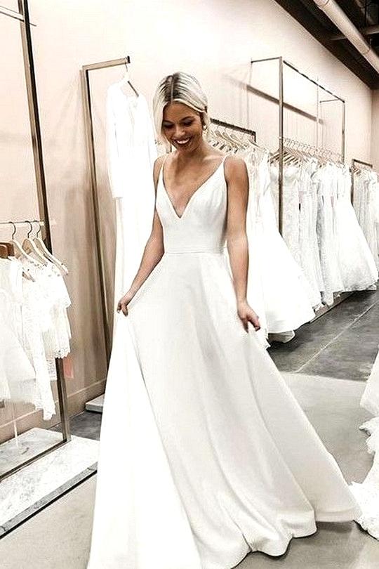 simple elegant v neck wedding dress
