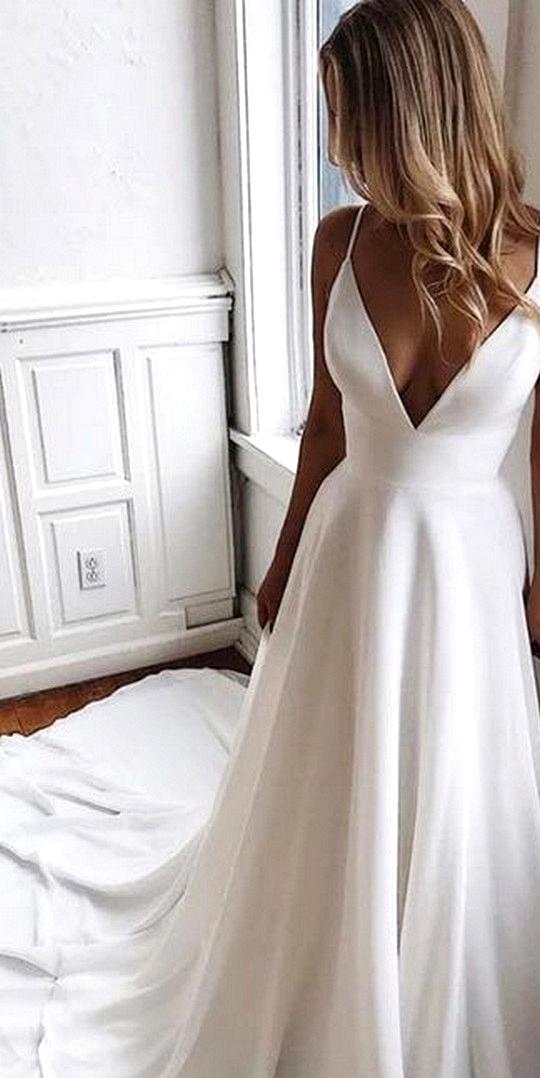 a line spaghetti straps simple wedding dress