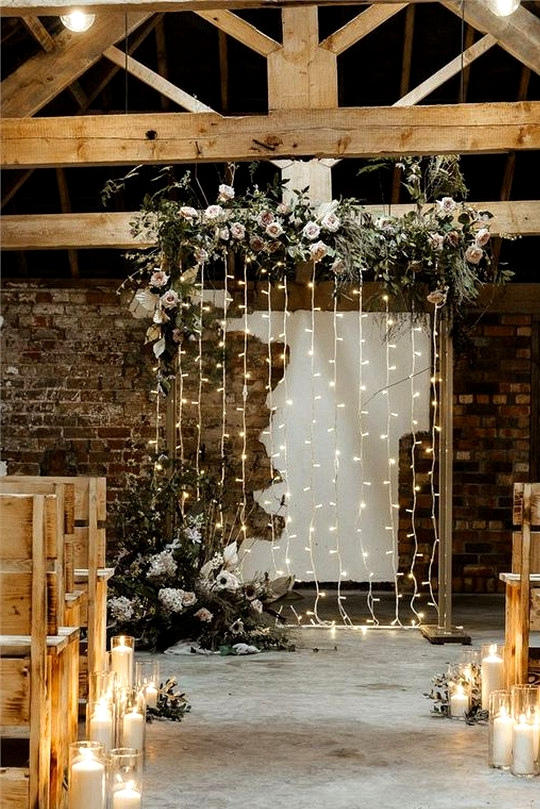 rustic barn wedding backdrop ideas with string lights