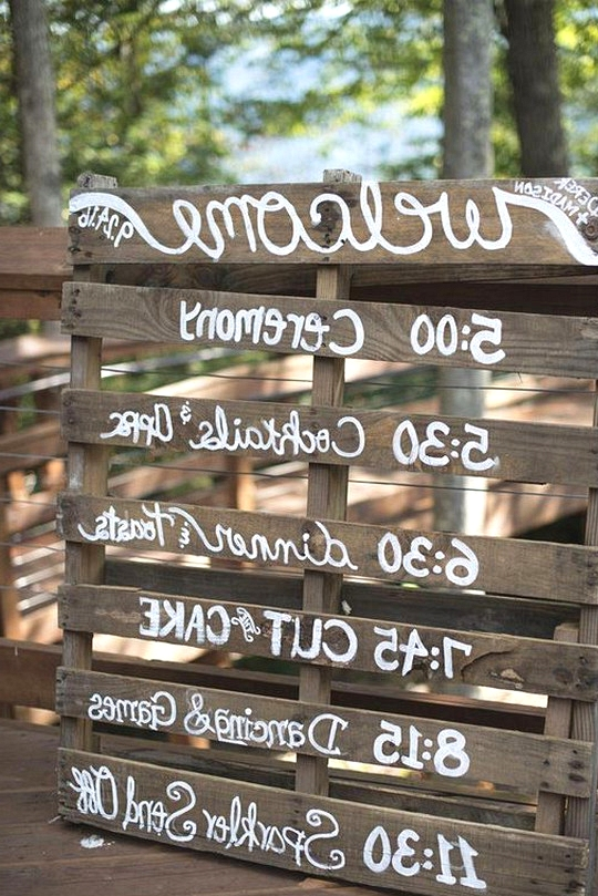 country rustic wedding sign with wooden pallets