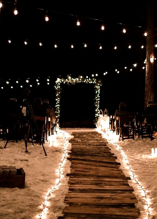 outdoor night wedding decoration ideas with string lights