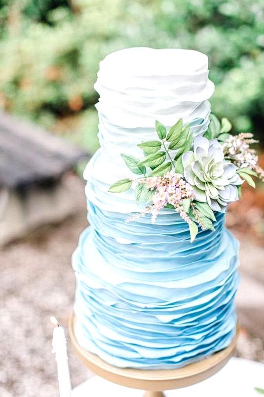 ruffled ombre blue wedding cake ideas