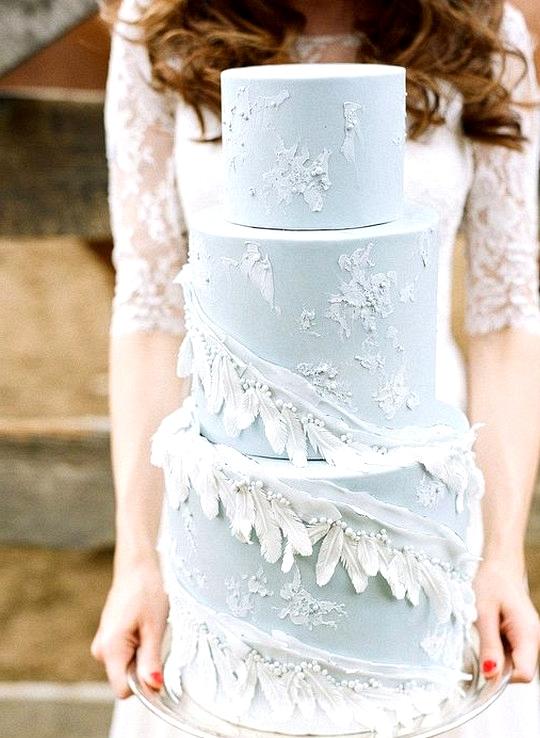 elegant ice blue wedding cake ideas