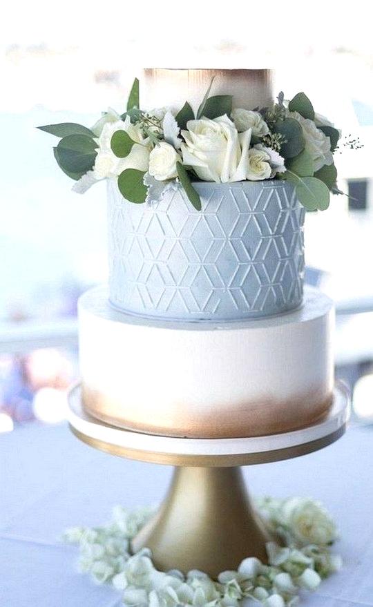 light blue and metallic gold wedding cake