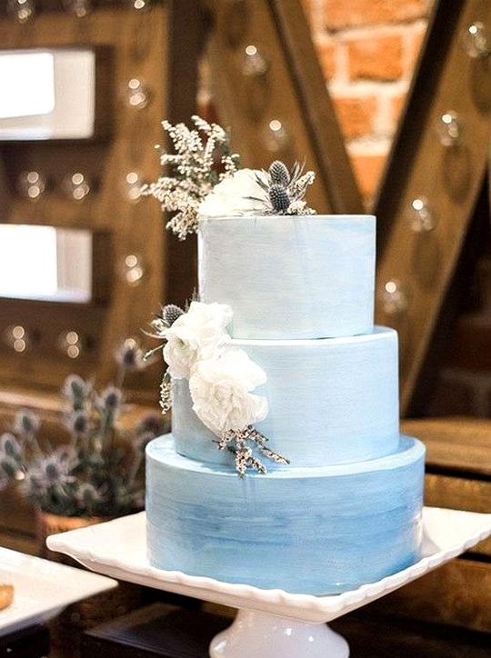 elegant ombre blue wedding cake
