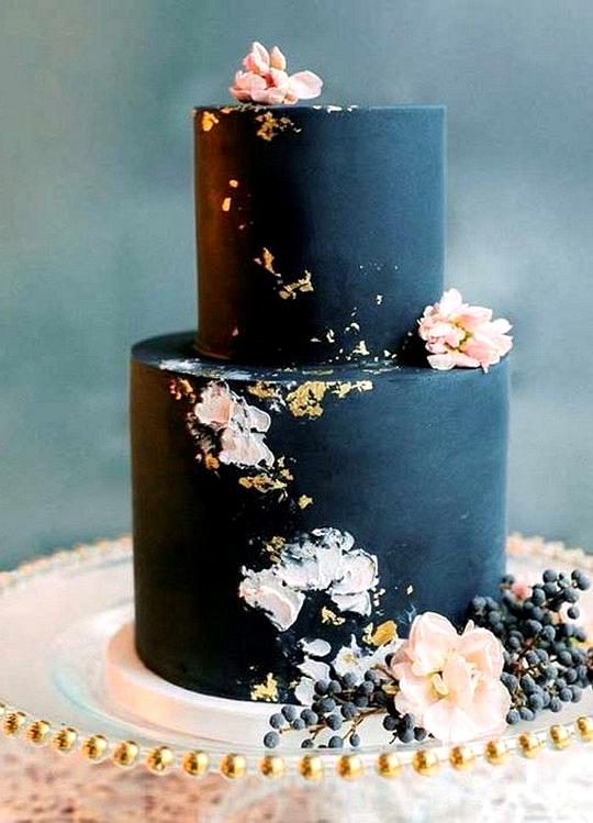 navy blue and blush wedding cake ideas