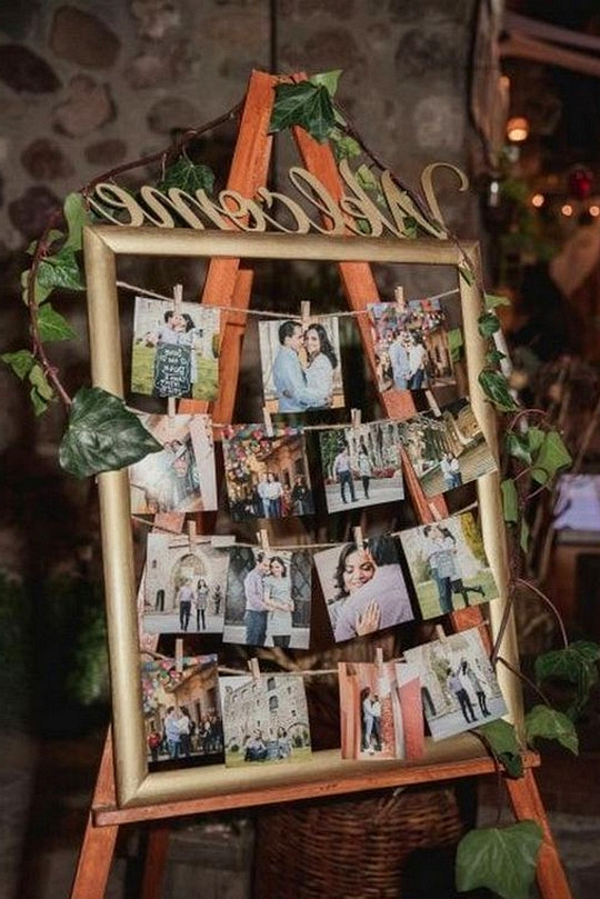vintage wedding photo display decoration ideas