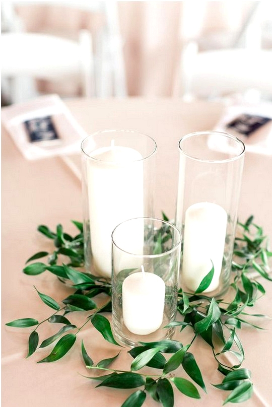budget friendly simple wedding centerpiece with candles