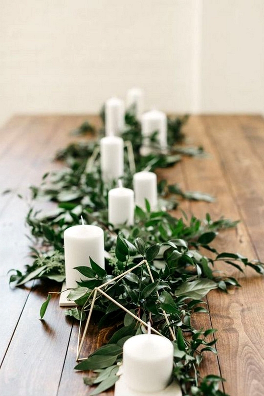 modern chic white and greenery wedding centerpiece ideas