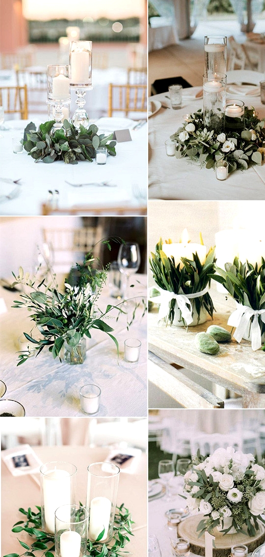 budget friendly simple wedding centerpieces white and green