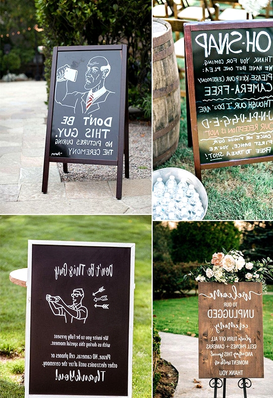 outdoor wedding signs for unplugged ceremony
