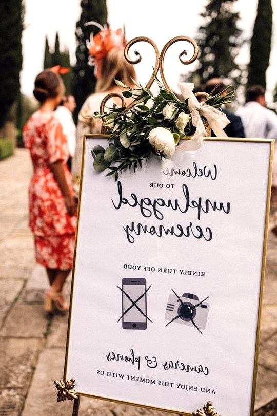 vintage unplugged wedding ceremony sign