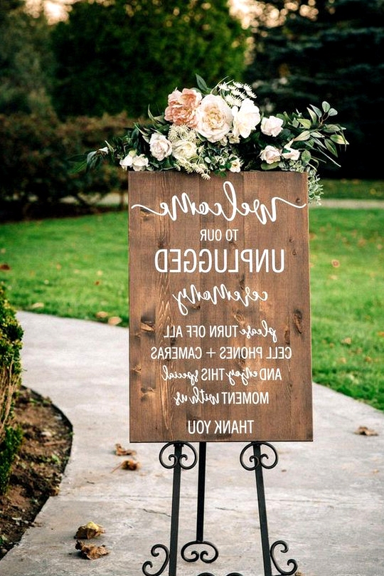 wood wedding sign for unplugged ceremony