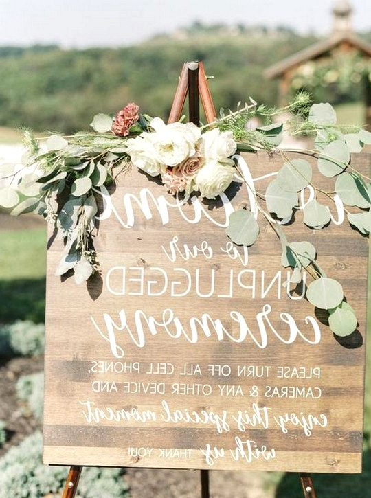 wood unplugged wedding sign for ceremony