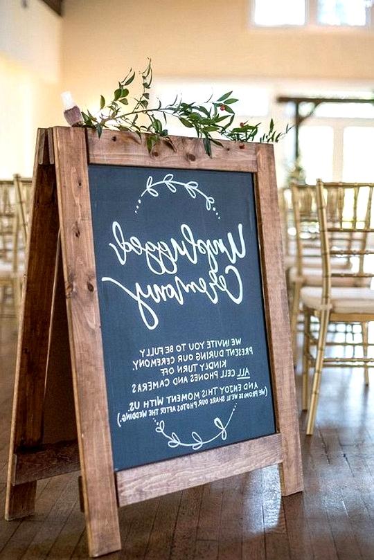 rustic chalkboard unplugged wedding ceremony sign ideas