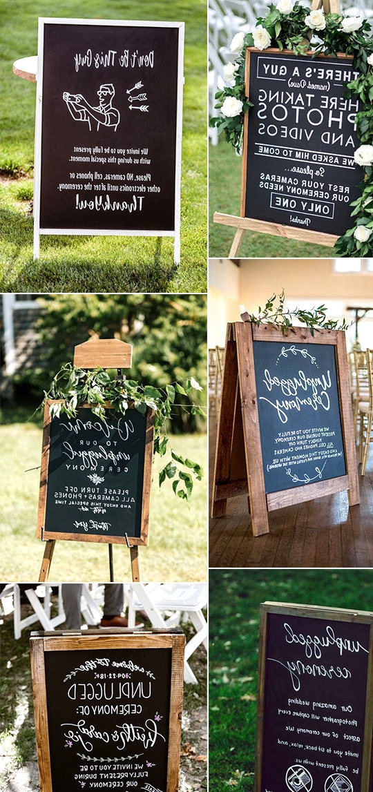 chic chalkboard wedding signs for unplugged ceremony
