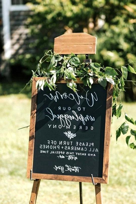 chic chalkboard unplugged wedding sign