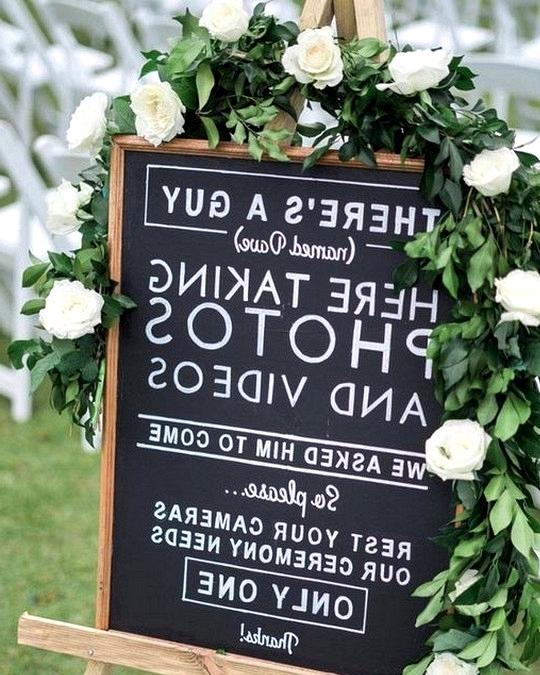 chalkboard unplugged wedding sign