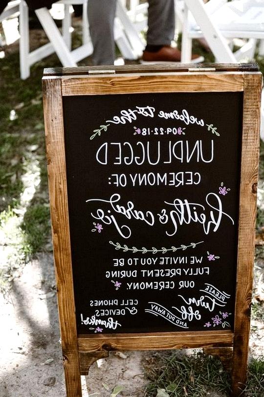 chic vintage chalkboard unplugged wedding sign