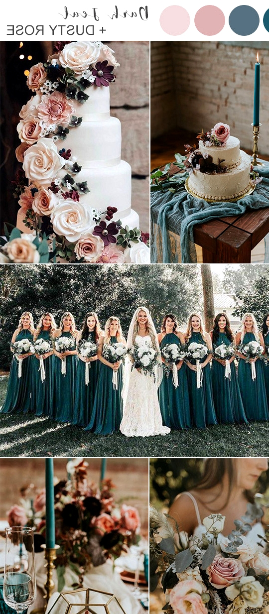 dark teal and dusty rose wedding color ideas