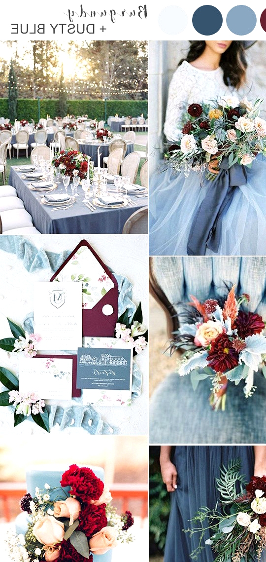 burgundy and dusty blue wedding color ideas 2020