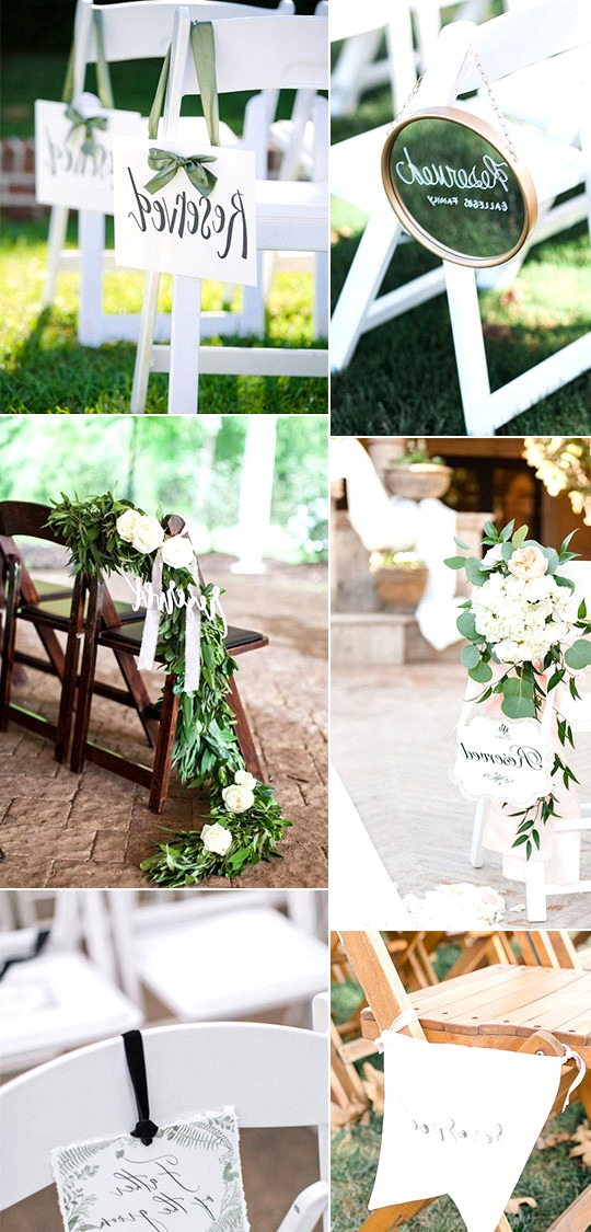 chic wedding ceremony seating reserved signs