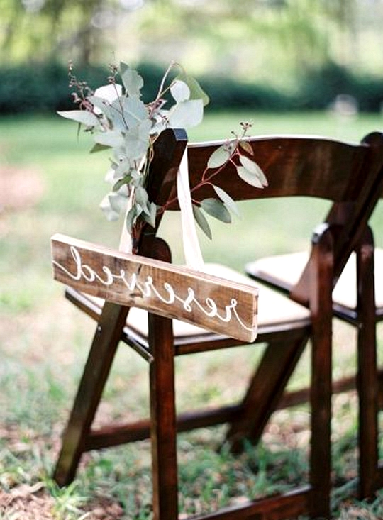 chic rustic reserved wedding ceremony seating sign
